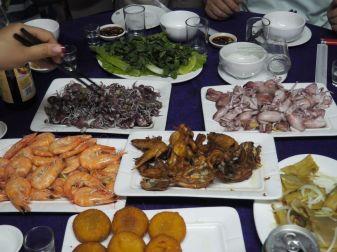 Soirée fruits de mer: crevettes, poulpes, calamars!